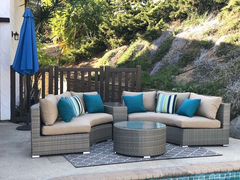 Patio Wicker Round Sofa Set