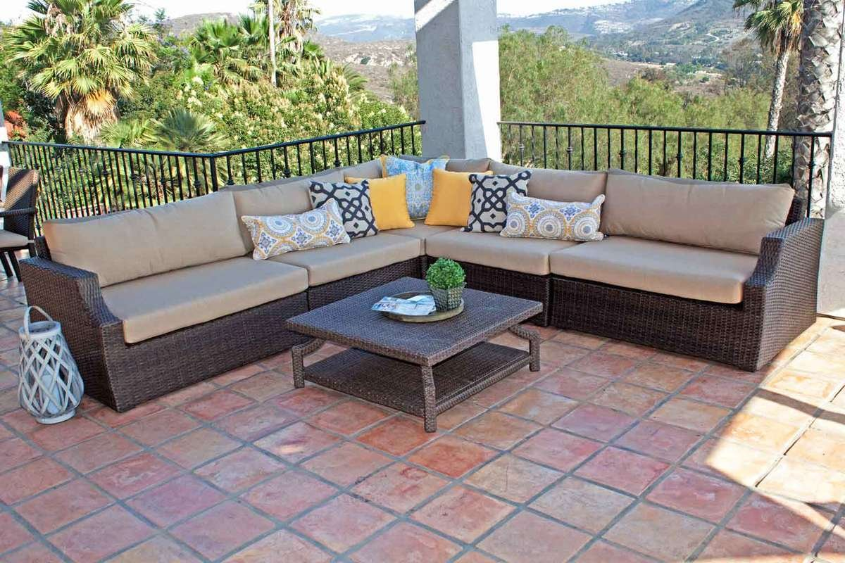 sale made wicker sectional p tan dalton with leisure cushions piece set sectionals outdoor patio