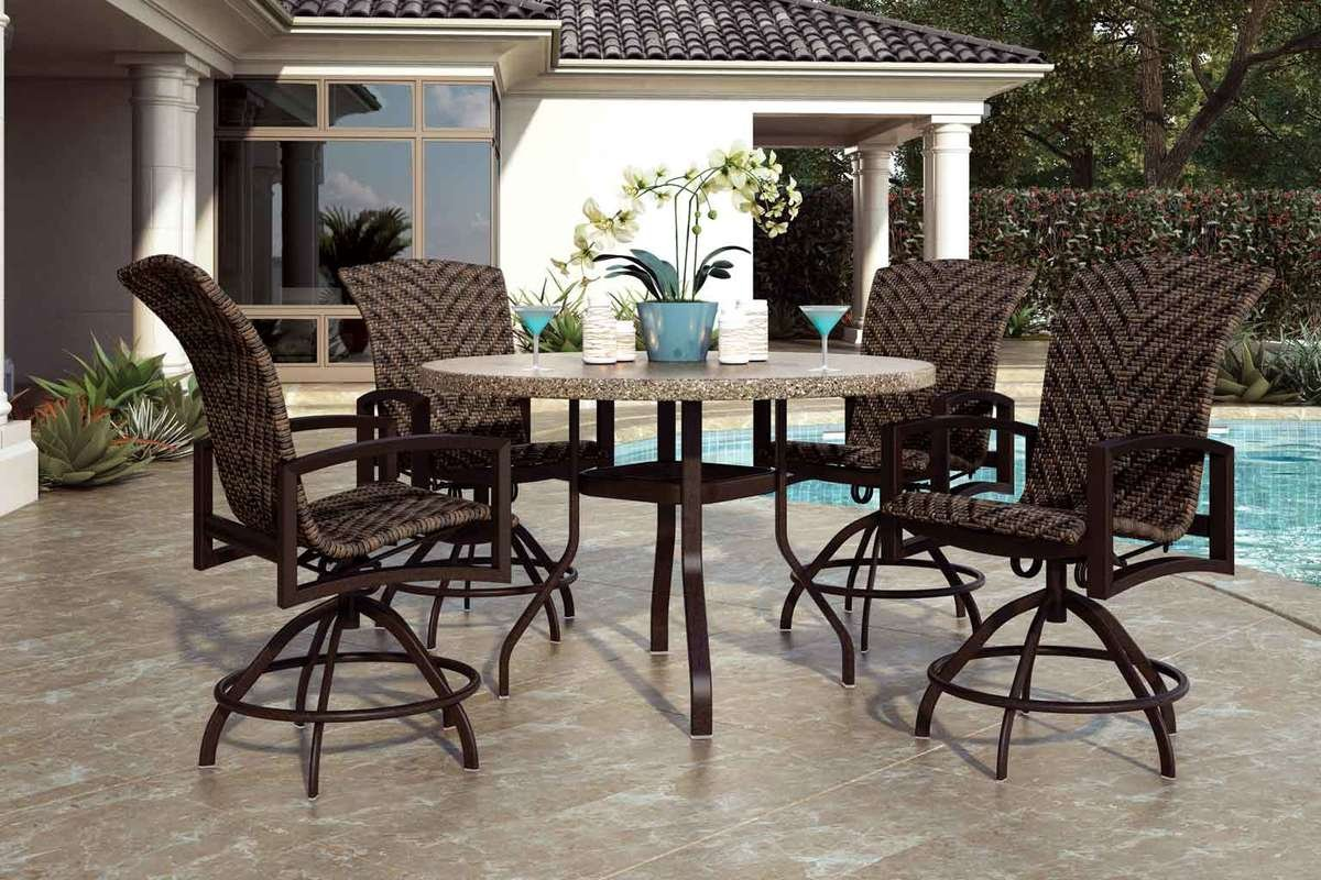 Outdoor Round Dining With Stone Top