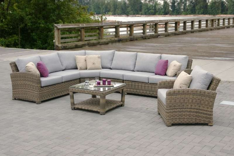 Princeville Outdoor Round Wicker Sectional