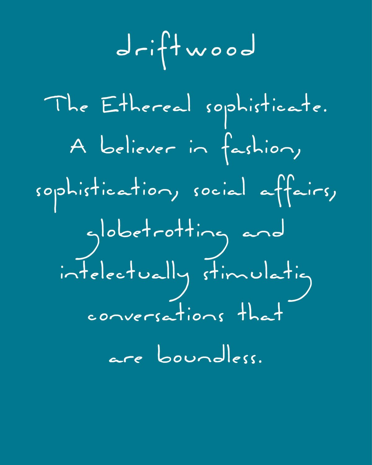 Driftwood fragrance scent persona the ethereal sophisticate.