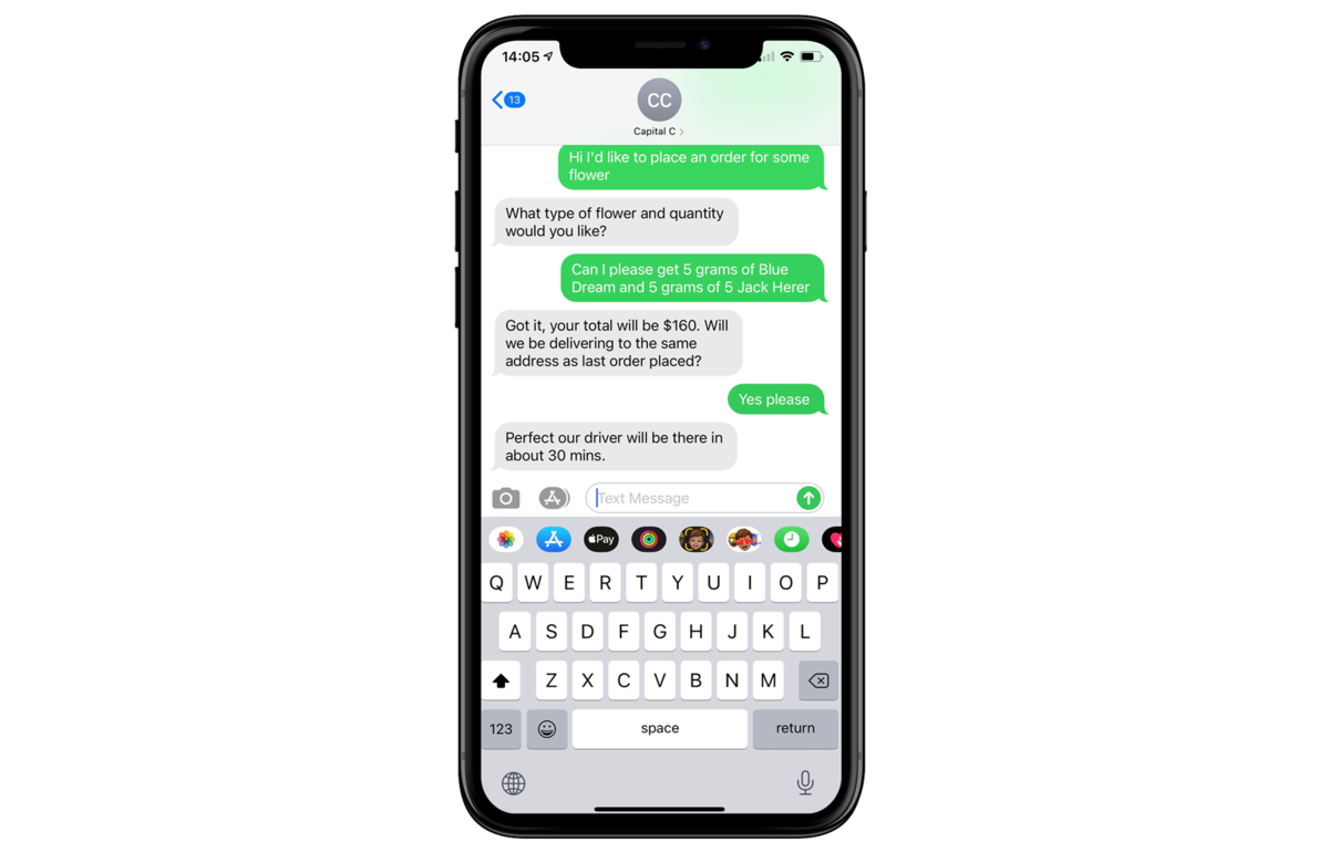 Text Capital Cannabis to Order Today