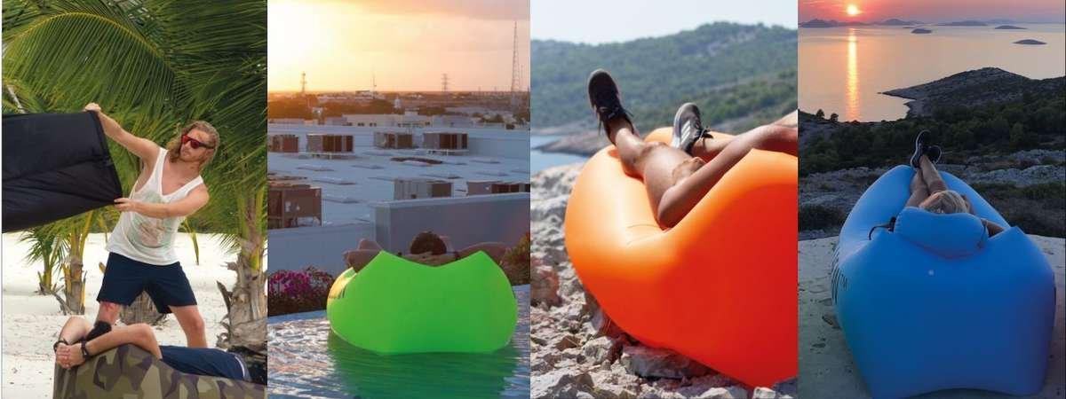 Chillbean Air uppblåsbar soffa på stranden och camping