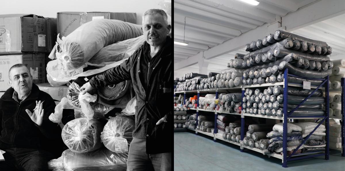 Menschen und Stoffe in der Produktionsstätte in der Türkei