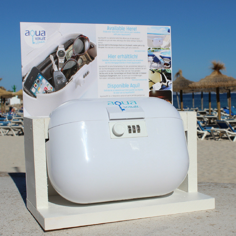 AquaVault sale display at beach pool