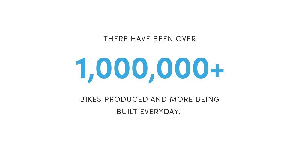 There have been over 1,000,000+ bikes produced and more being built everyday.