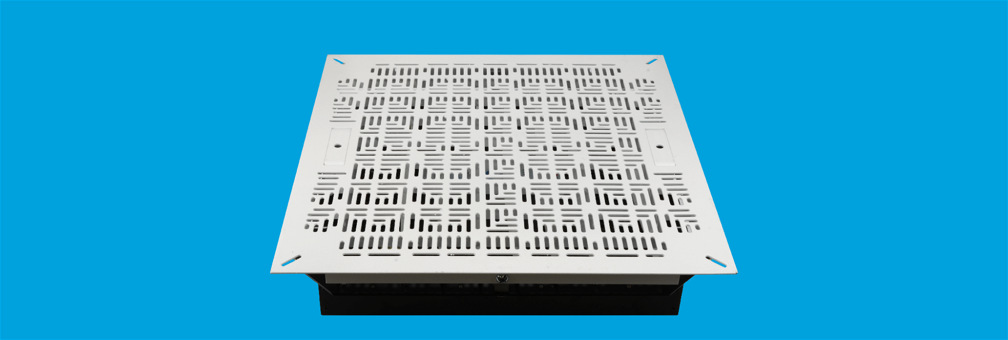 Airflow management tile for floors in data centers and computer rooms.