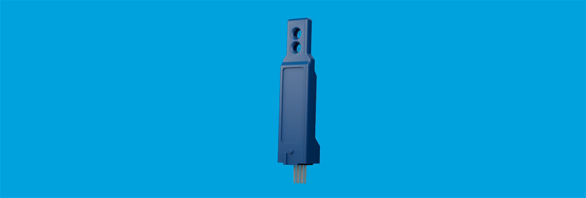 Vertical airflow sensor for mounting on PCB or PCBA to measure air velocity and air temperature.