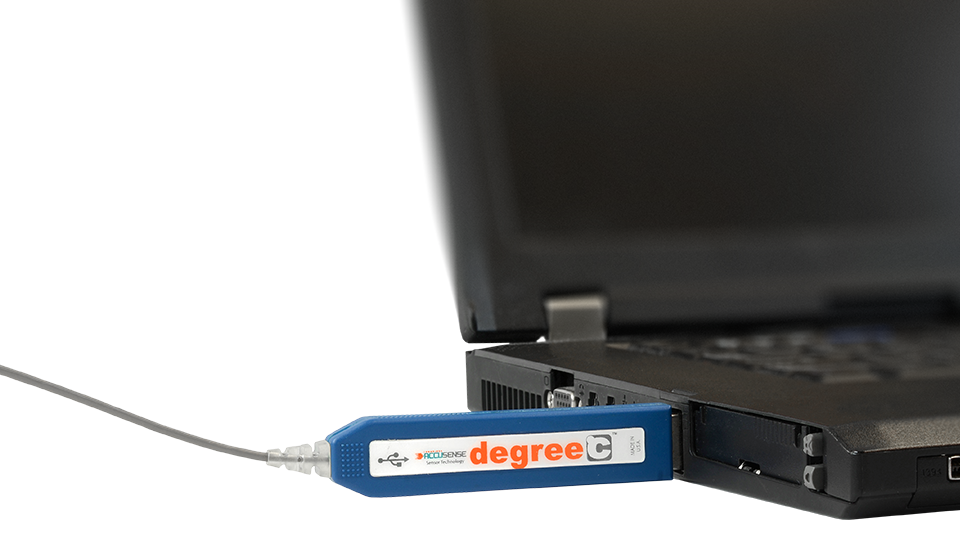 Data from the surface mount temperture sensor is sent to your laptop or PC through a USB output for easy, fast analysis.