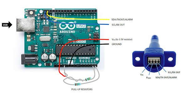 Arduino UNO REV3 board with air velocity and temperature sensor connected.