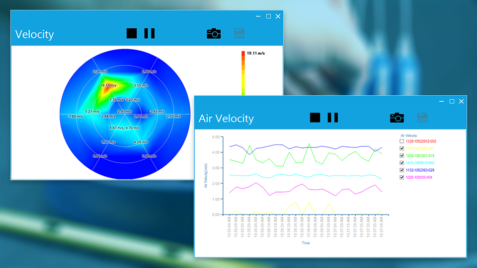 Arduino air velocity and temperature sensor data is seen in real-time and data can be logged and reported with heatmaps and graphs.