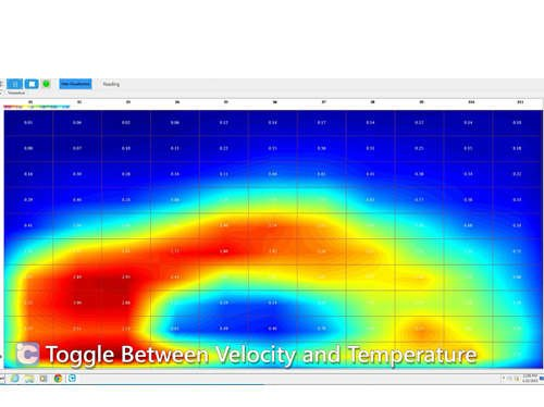 Data from the automotive air velocity and temperature sensors is visualized with heat maps for accurate analysis.