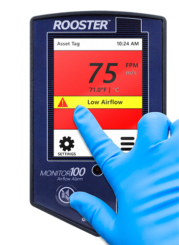 Grossing hood airflow monitor allows for ease of integration into building automation and control systems.