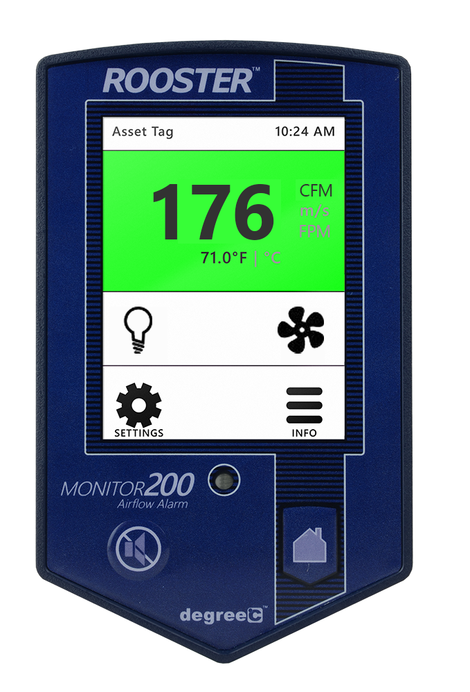 Grossing hood air velocity monitor features touchscreen access to robust features.