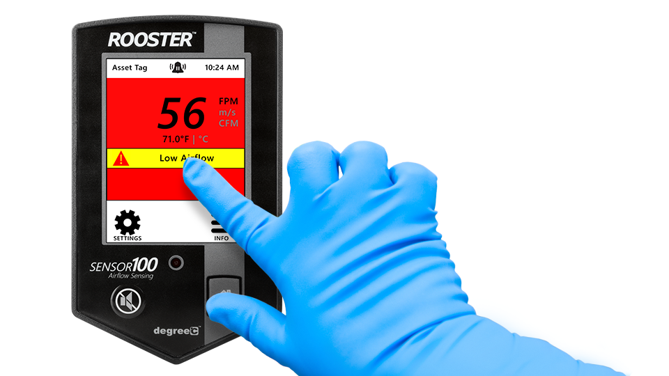Airflow monitor and sensor with intuitive touch-screen interface.