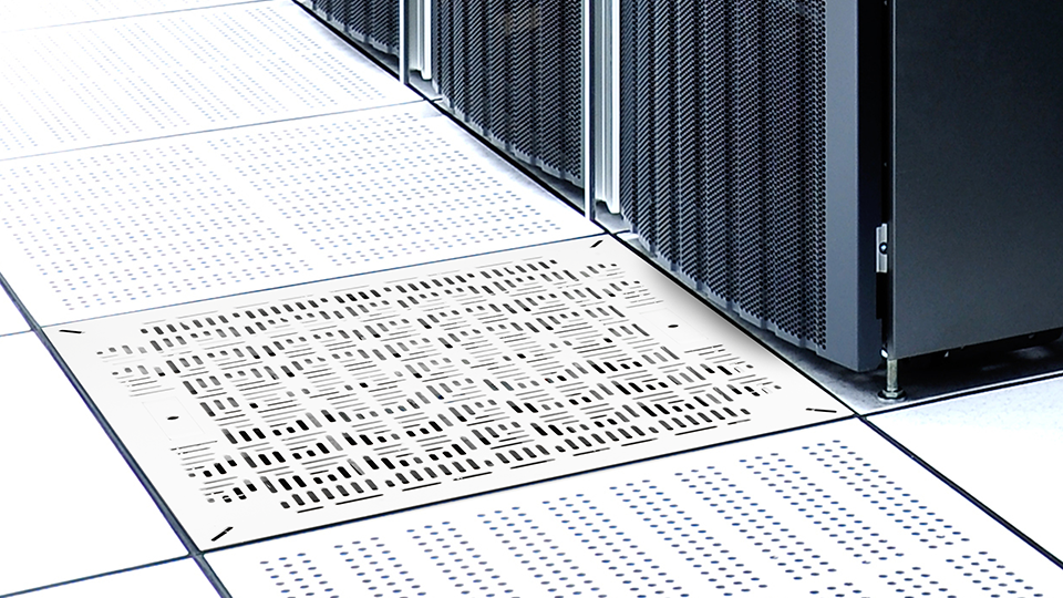Airflow management tiles integrate with building management system or DCIM.