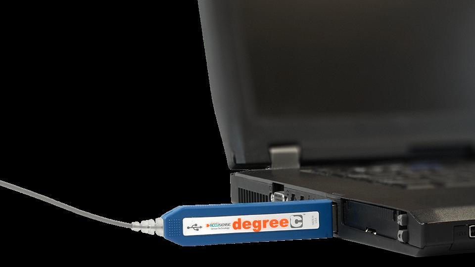 Digital temperature sensor data is transferred using a familiar USB interface.