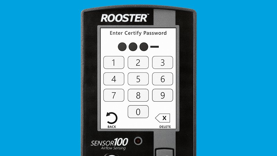 Airflow monitor and sensor with dual password protection.
