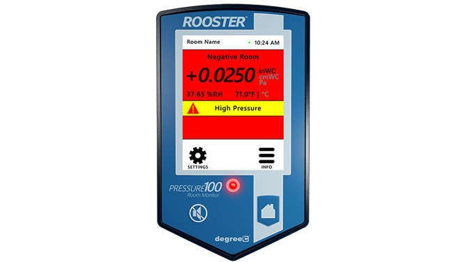 Monitor air pressure, temperature and humidity monitor with a user-friendly touchscreen interface for configuring alarm set points and output behavior.