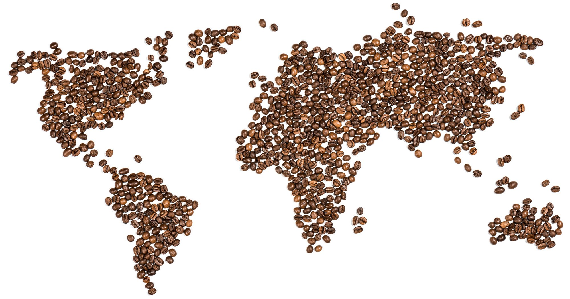 MAP OF WORLD MADE FROM COFFEE BEANS