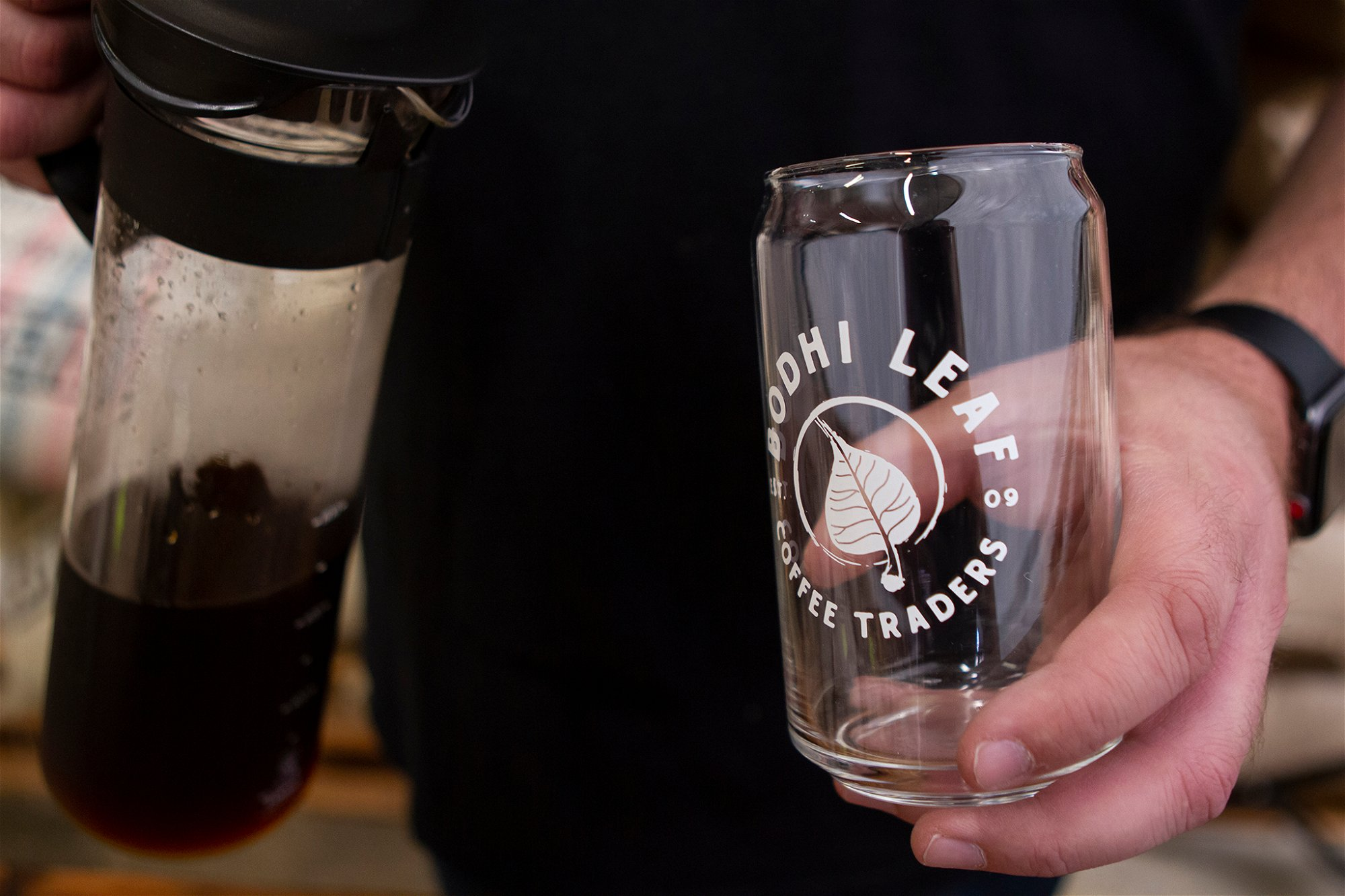 POURING COLD BREW FROM HARIO MIZUDASHI COLD BREWER