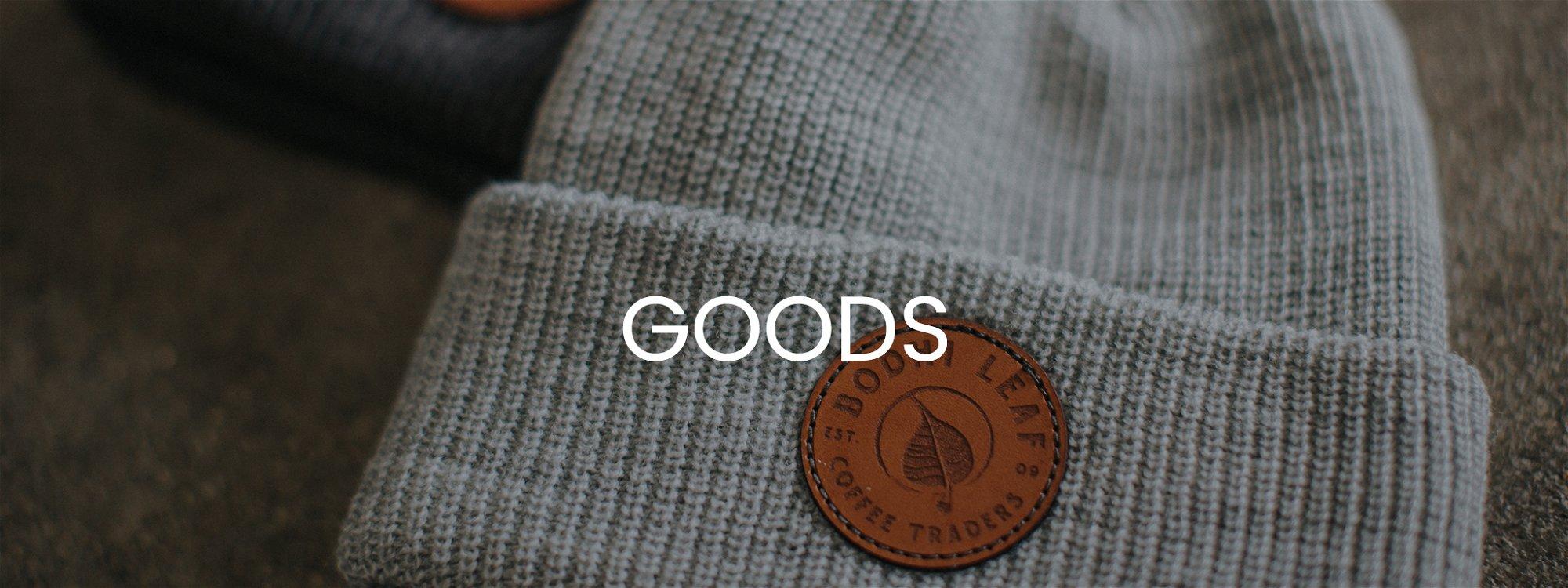 """Bodhi Leaf logo beanie titled """"Goods"""""""