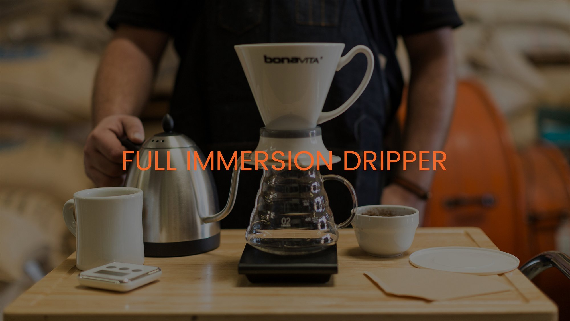 "Full immersion dripper on scale with mug and kettle. Titled ""Full Immersion Dripper"""