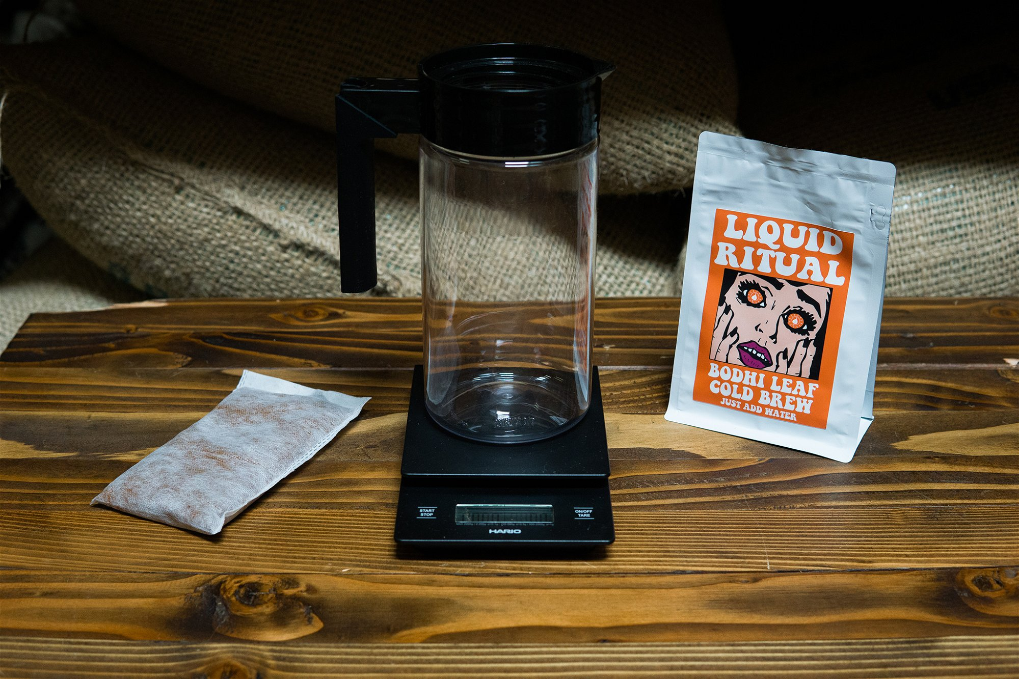 Liquid Ritual Cold Brew Packet with scale and pitcher
