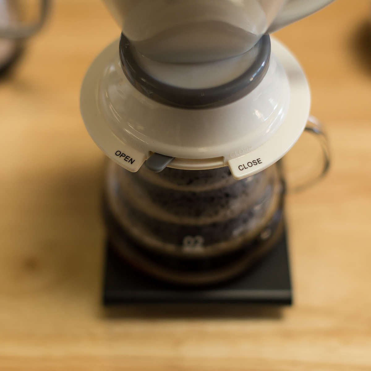 Open/close lever on dripper