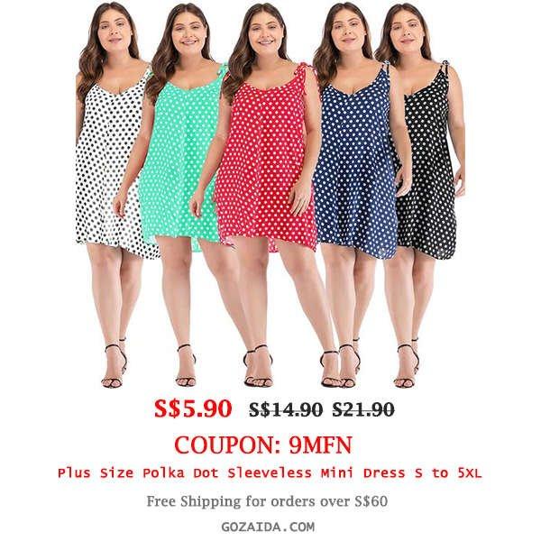 Plus Size Polka Dot Sleeveless Mini Dress
