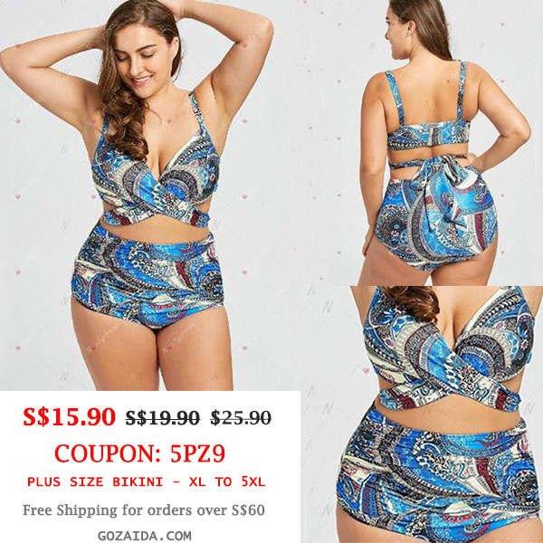 Plus Size Bikini Blue