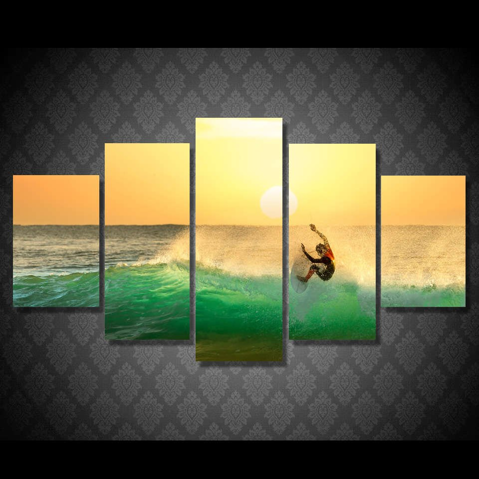 Surfing Trick Tail Slide Wall Art Multi Panel Canvas – Mighty Paintings