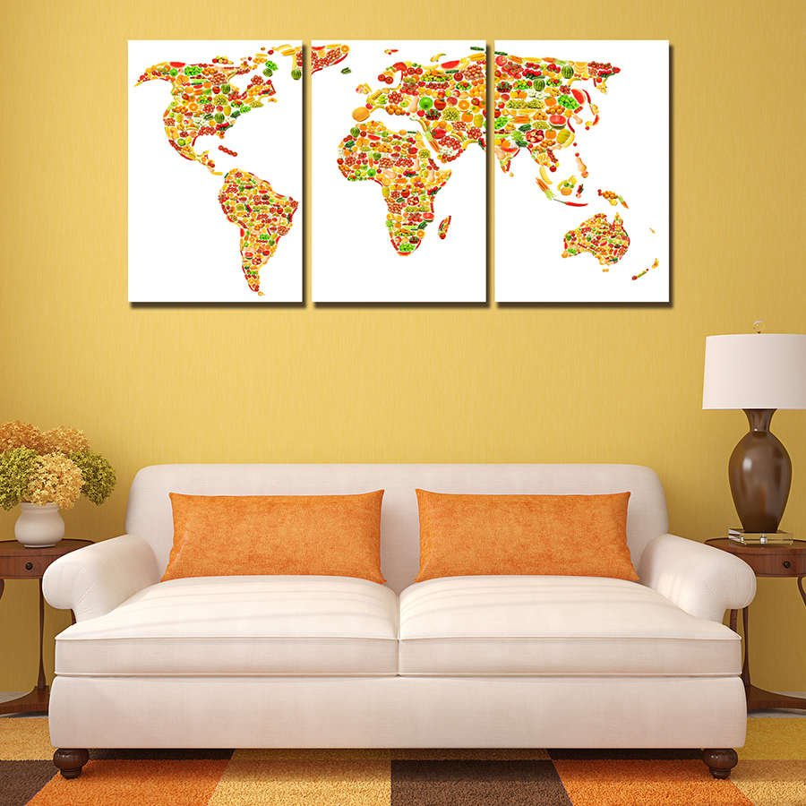 Fruity World Map Multi Panel Canvas Wall Art – Mighty Paintings