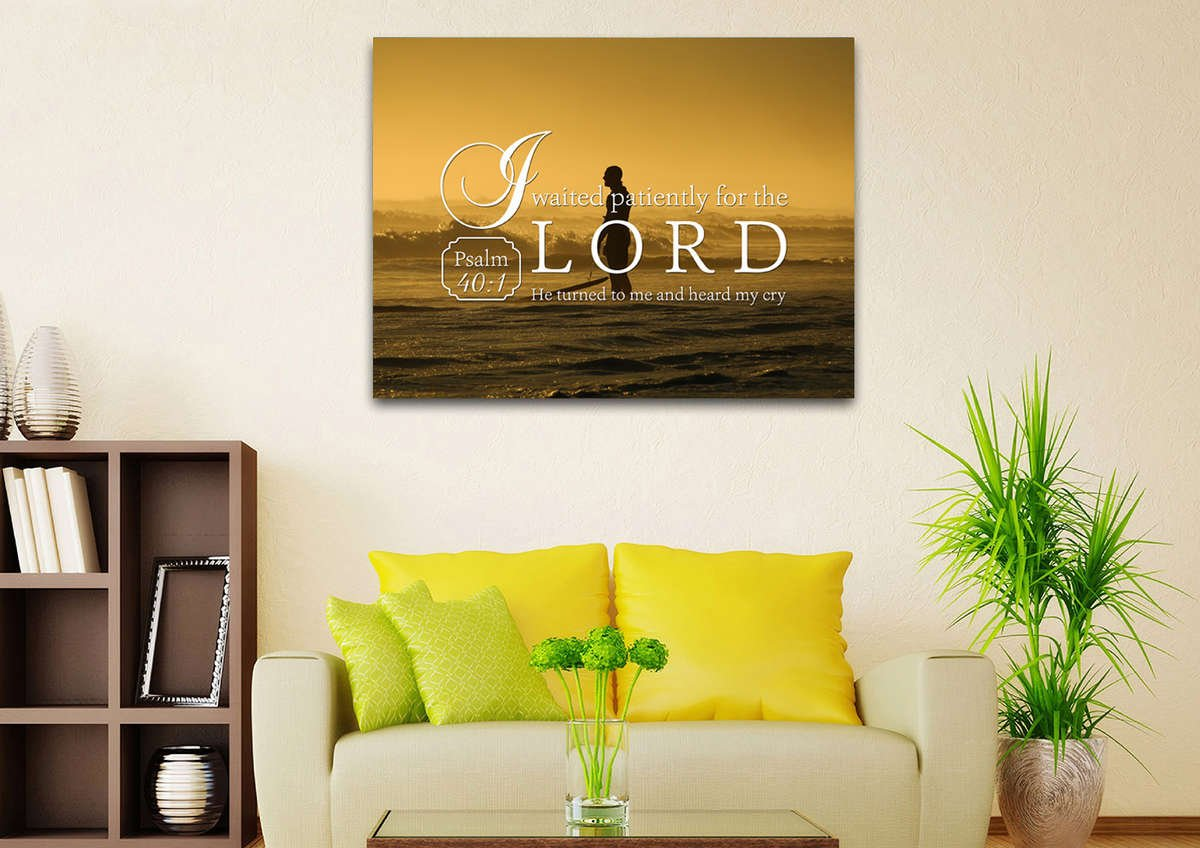 Psalm 40:1 I waited patiently for the Lord Bible Verse Canvas Wall ...