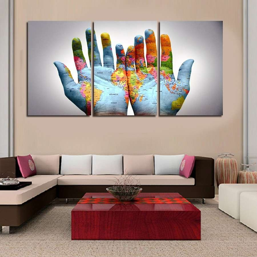 world map as a handprint multi panel wall art canvas mighty paintings. Black Bedroom Furniture Sets. Home Design Ideas