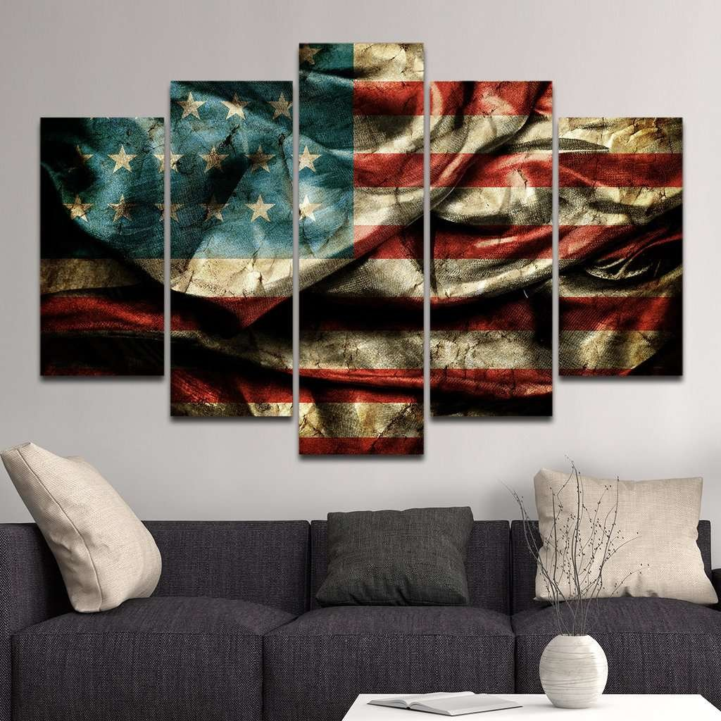 Rustic American Flag Wall Art Canvas