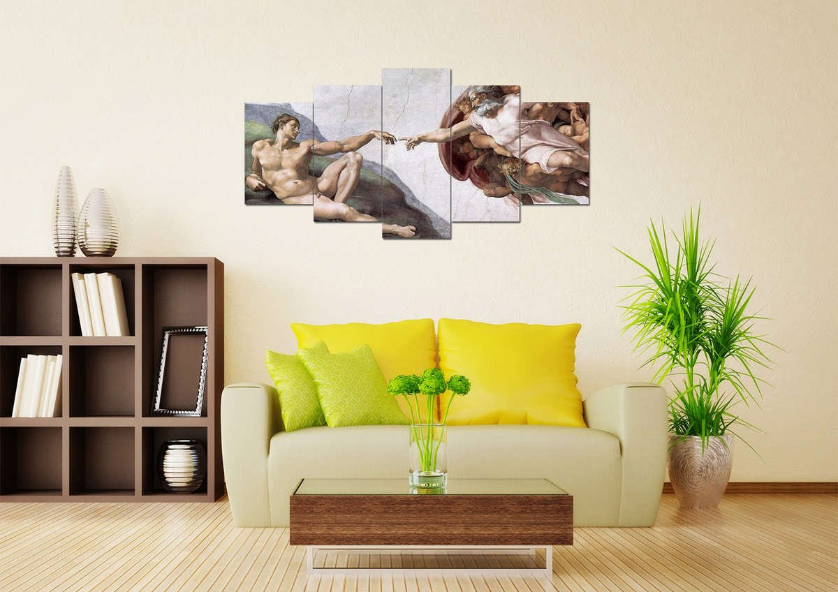Creation of Adam #2 Multi Panel Canvas Wall Art – Mighty Paintings