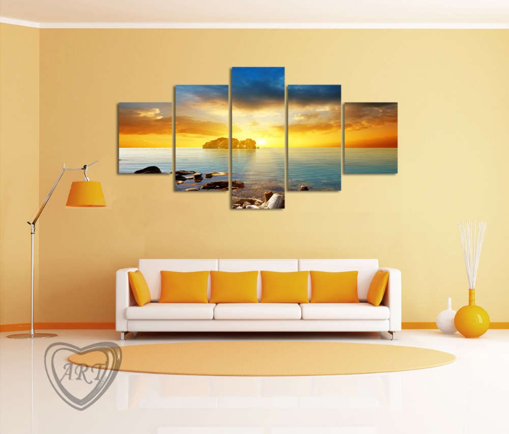 Sunset Sunrise on Deserted Tropical Island Multi Panel Wall Art ...