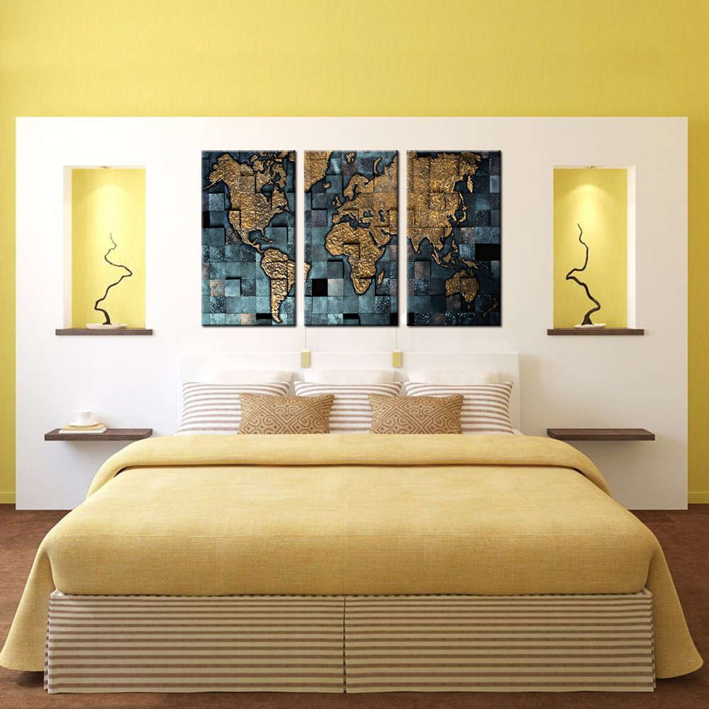 3D Looking World Map Multi Panel Canvas Wall Art – Mighty Paintings