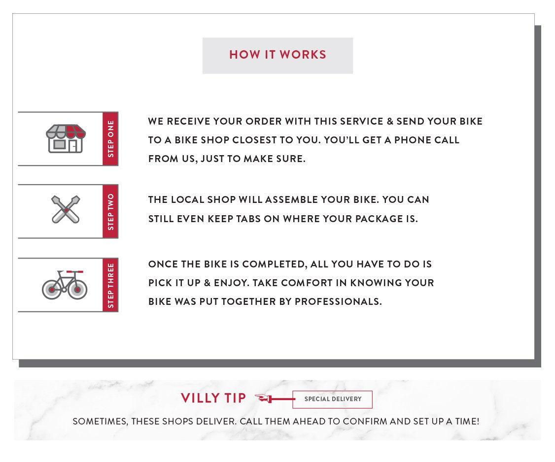 How the White Glove Service Works - Receive a custom bicycle order, local bike shop assembly, and bicycle shop pick up!