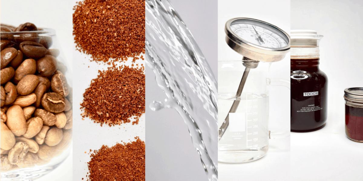 Roasted coffee beans, ground coffee beans, a stream of water, a thermometer, and closed cold brew containers