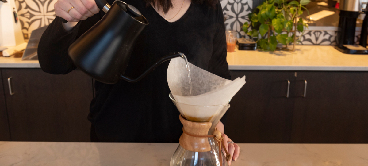 Brewing with a Chemex and a coffee kettle
