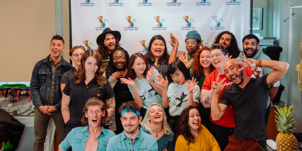 A group of baristas at the Glitter Car Barista Bootcamp