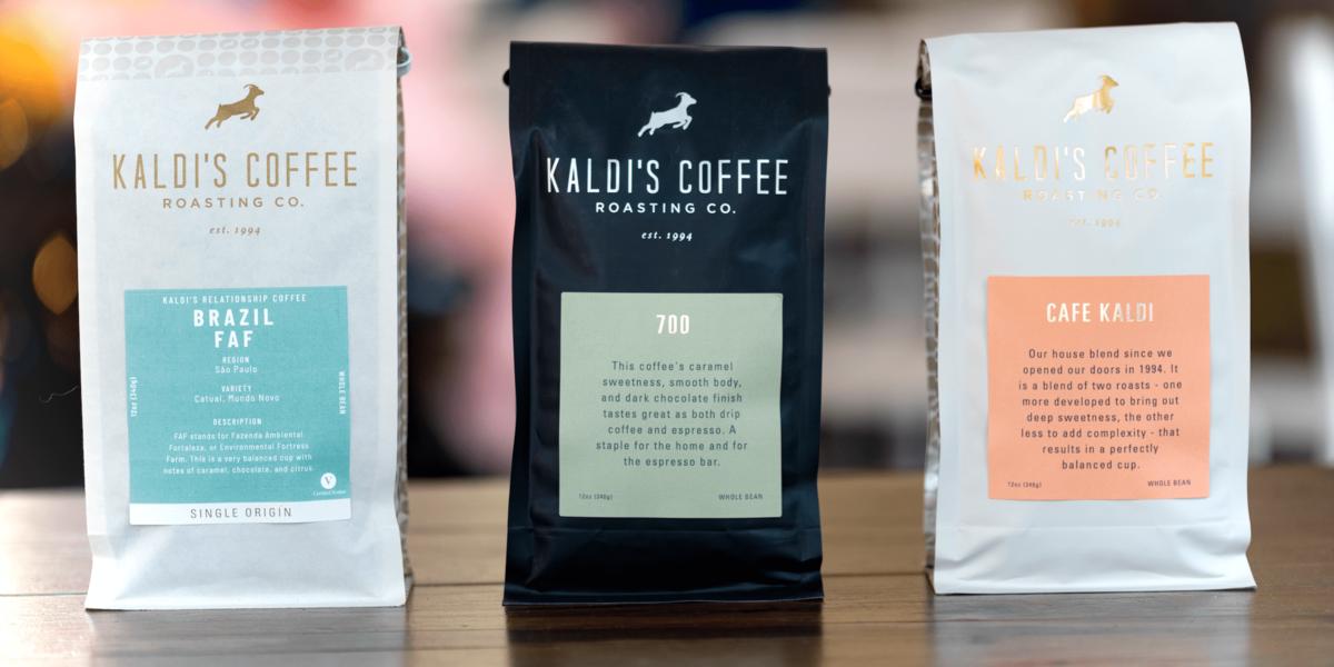 3 12oz bags of Kaldi's Coffee blends and single origin