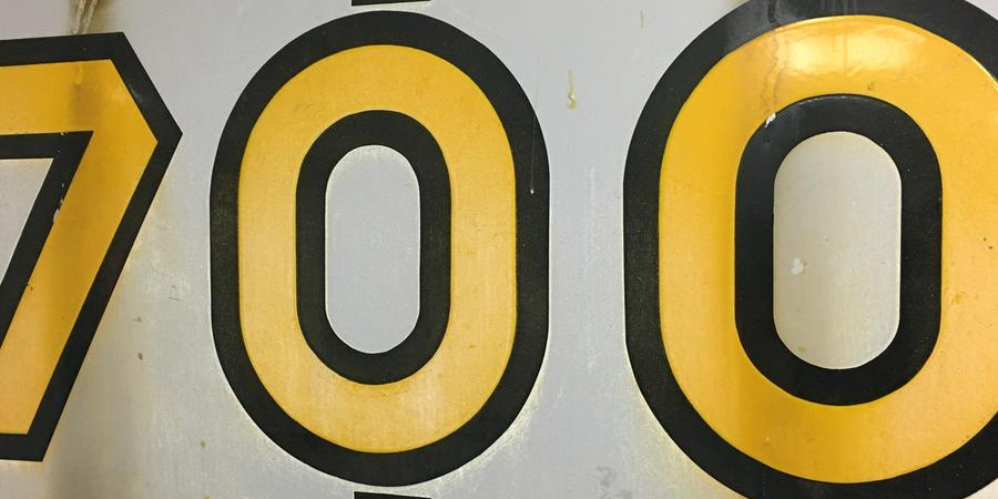 The 700 sign that lives in our St. Louis Roastery