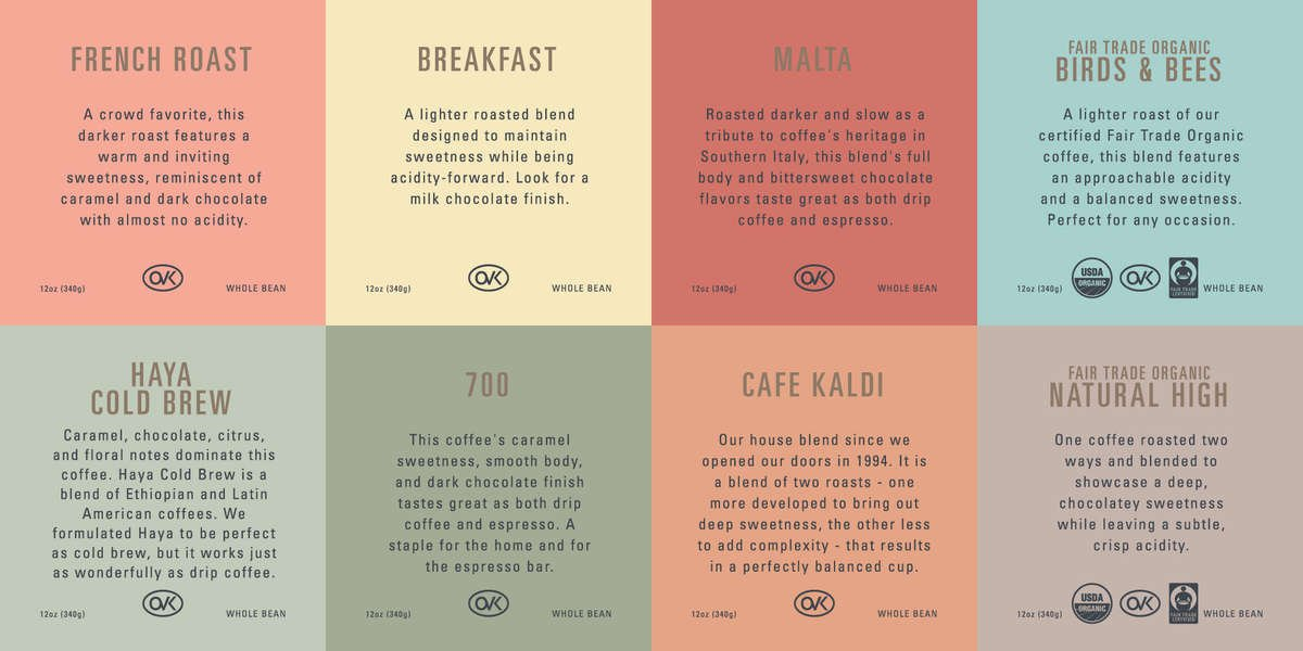 8 labels for Kaldi's Coffee blends