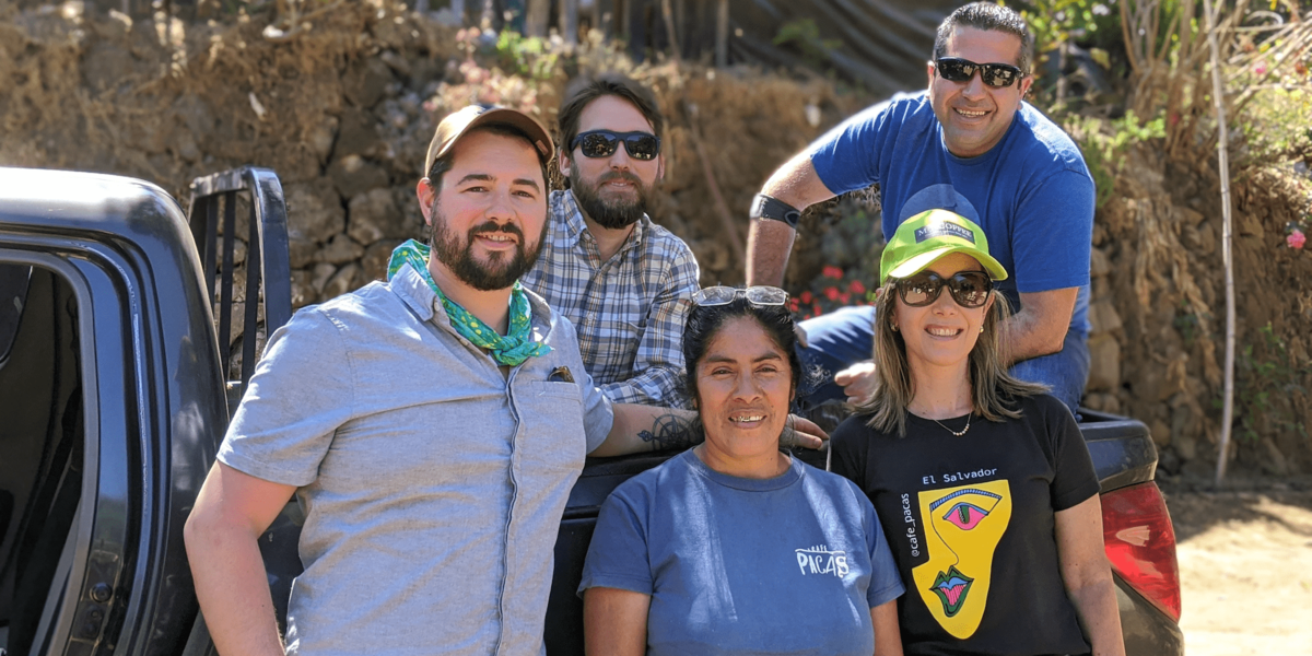 Kaldi's team members with producers on an origin trip to El Salvador
