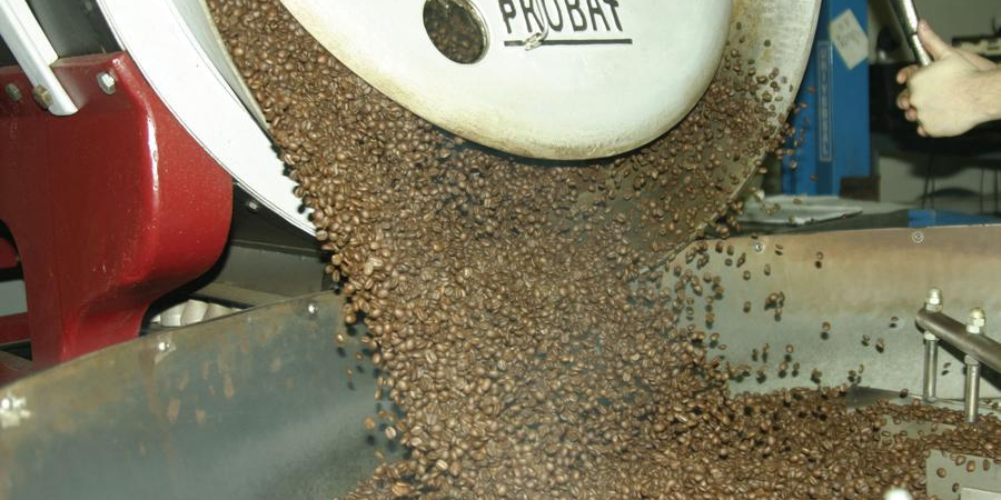 Cafe Kaldi coming out of our Probat coffee roaster