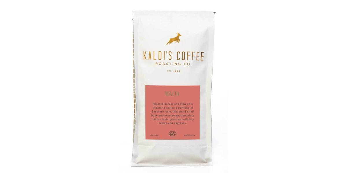 A 12oz bag of Cafe Malta, our darkest roast blend