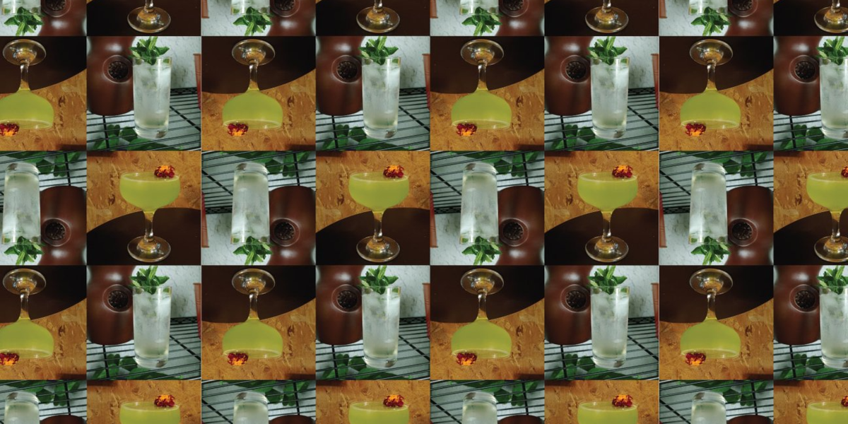A pattern of different coffee cocktails